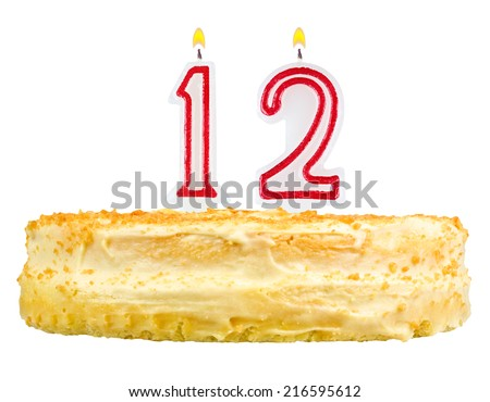 Birthday Cake With Candles Number Twelve Isolated On White Background 216595612