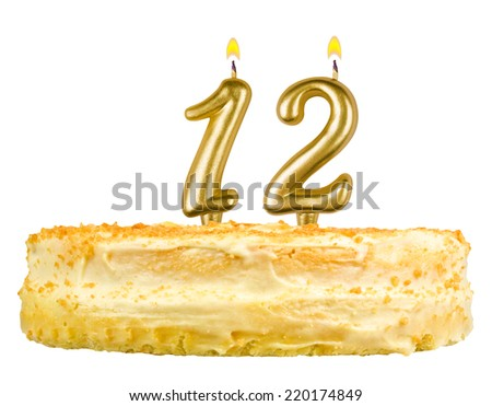 Birthday Cake With Candles Number Twelve Isolated On White Background 220174849