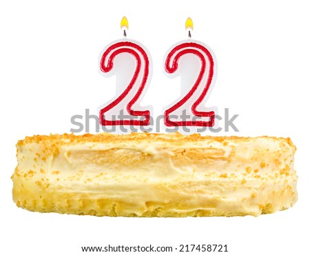 Birthday Cake With Candles Number Twenty Two Isolated On White Background 217458721