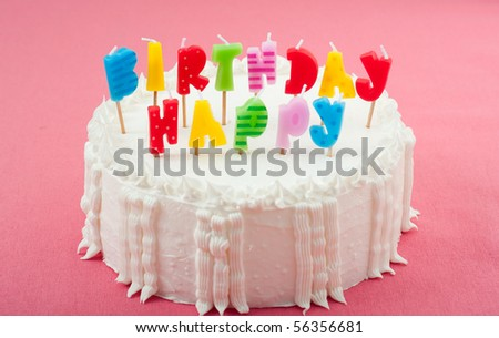 Birthday Cake with Candles on Pink