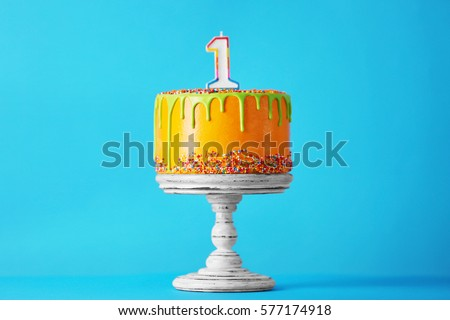 birthday cake with one candle...