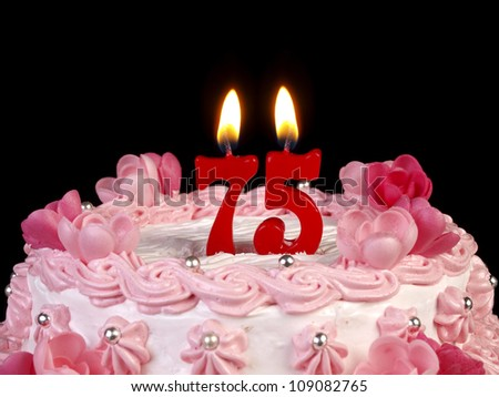 Birthday Cake With Red Candles Showing Nr 75 109082765