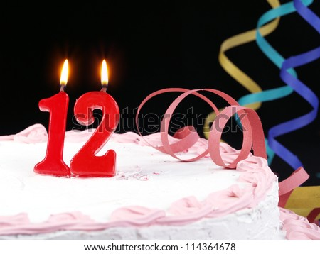 Birthday Cake With Red Candles Showing Nr 12 114364678