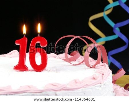 Birthday cake with red candles showing Nr. 16