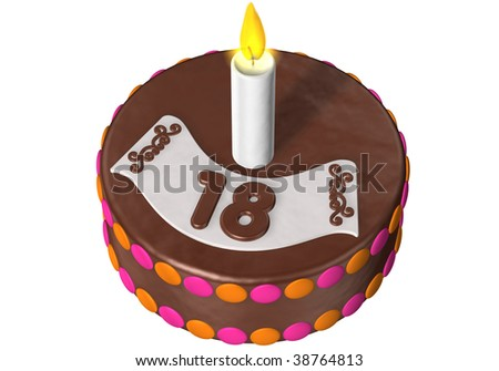 birthday cake with the number 18 - stock photo