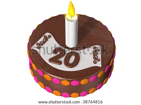 Birthday Cake With The Number 20 Stock Photo 38764816