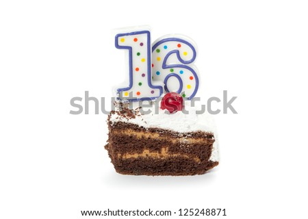 Birthday cake with two candles isolated on white