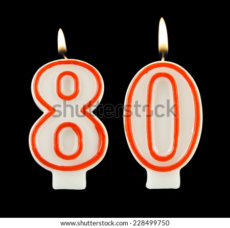 Birthday Candle On Black Background Number 80 228499750