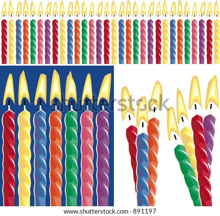 Birthday candles, 30 birthday, 3 grouped, 4 grouped
