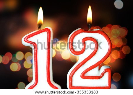 Birthday Candles Celebrating 12th 335333183