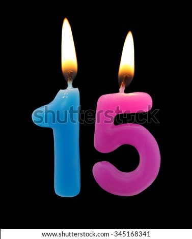 Birthday Candles Isolated On Black Background Number 15 345168341