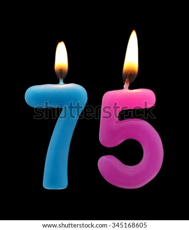 Birthday Candles Isolated On Black Background Number 75 345168605