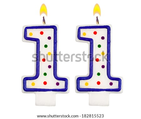 Birthday Candles Number Eleven Isolated On White Background 182815523