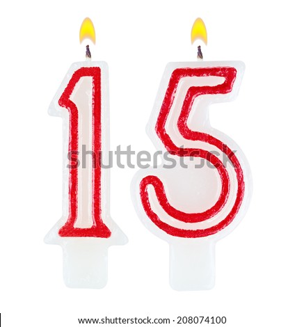 Birthday Candles Number Fifteen Isolated On White Background 208074100