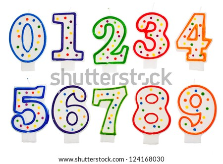 Birthday candles number isolated on white background