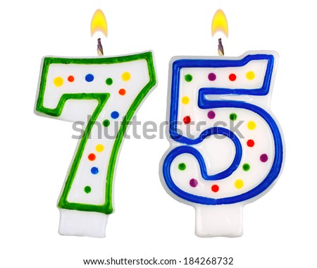 Birthday Candles Number Seventy Five Isolated On White Background 184268732