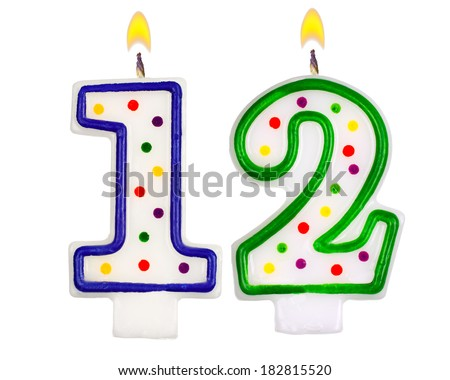 Birthday Candles Number Twelve Isolated On White Background 182815520