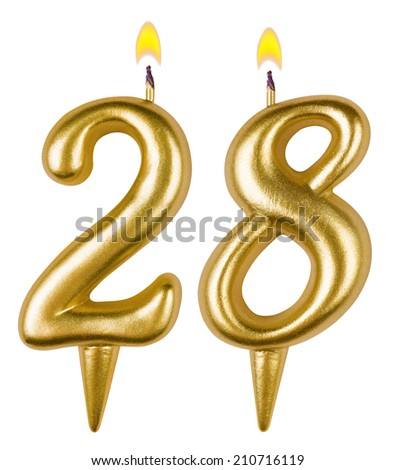 Birthday Candles Number Twenty Eight Isolated On White 210716119