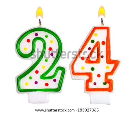 Birthday Candles Number Twenty Four Isolated On White Background 183027365