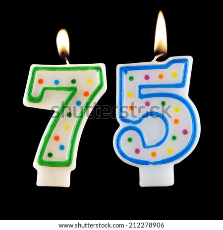 Birthday Candles On Black Background Number 75 212278906
