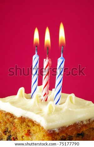 Birthday candles on pink background