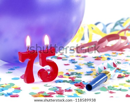 Birthday candles showing Nr. 75 - stock photo