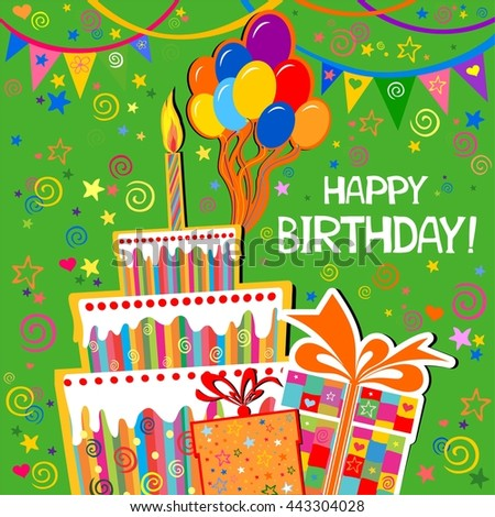 Birthday Card Celebration Green Background With Gift Boxes