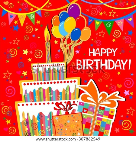 Birthday Card Celebration Red Background With Gift Boxes Balloons