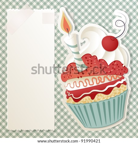 Birthday card with funny cupcake and paper note