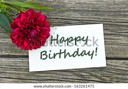 Birthday card with red flower/Happy birthday/english