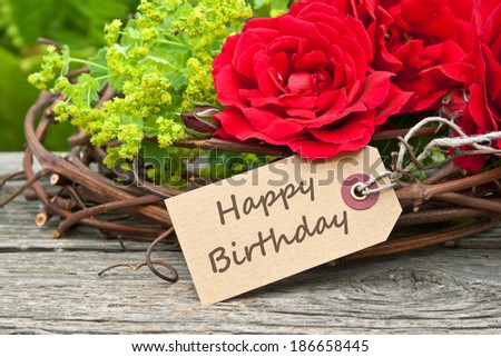 Birthday Card With Red Roses Happy English 186658445
