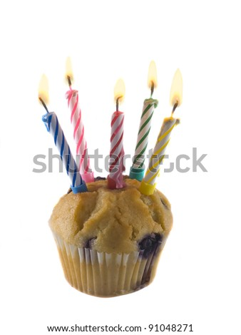 birthday celebration concept a cupcake and five candles