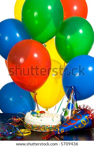 Birthday celebration with balloons, a decorated cake and party hats, background