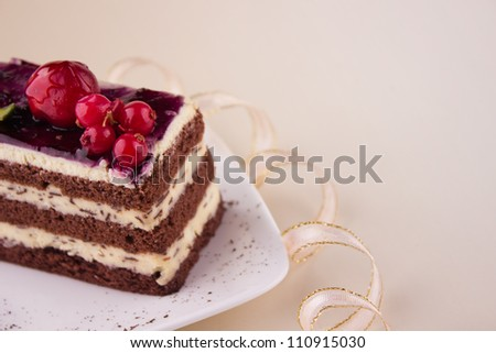 Birthday chocolate cake with berries
