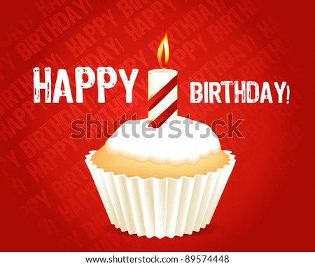 Birthday cupcake Greeting card , Raster version - Vector version is also available.
