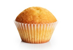 Birthday cupcake isolated on a white background. With clipping path.