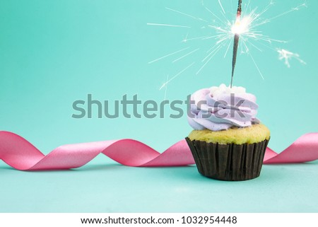 Birthday cupcake with a sparkler