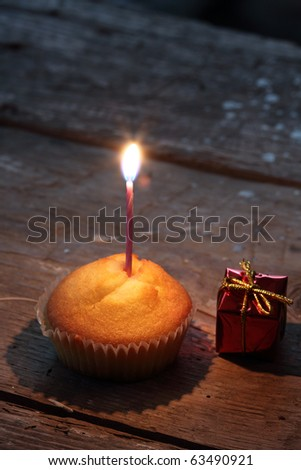 Birthday cupcake with candle close up