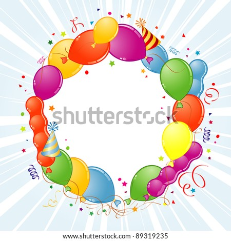 Birthday Frame with Balloon, Streamer and Party Hat, element for design, raster version