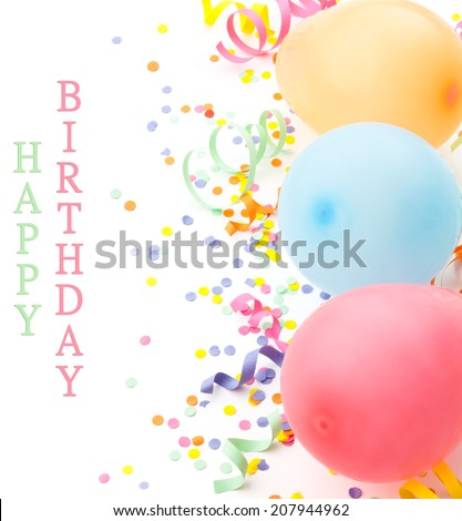 Birthday (holiday party) arrangement. Balloons and confetti isolated on white.