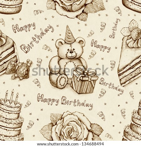 Birthday illustrations. Seamless pattern