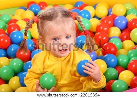 Birthday of smiling girl. Group of color ball backgrounds. - stock photo
