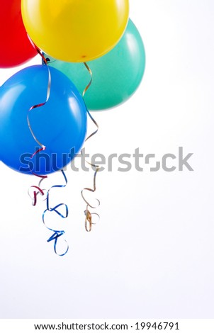 birthday or anniversary balloons isolated on white