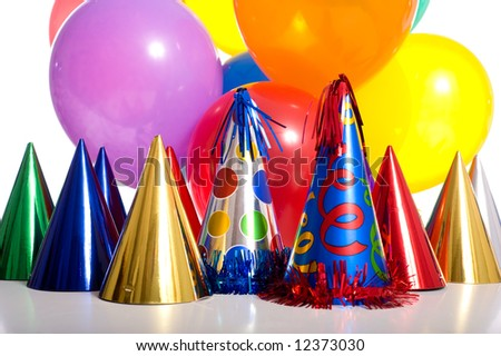 stock photo : Birthday party background with party hats, floating balloons