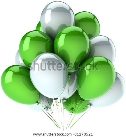 Birthday party balloons celebrate decoration green white balloon multicolor. Happy joy fun positive emotions abstract. Anniversary holiday greeting card concept. 3d render isolated on white background