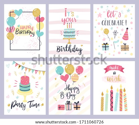 Birthday party cards. happy birthday pastel celebration postcards, invitation with candle, golden balloons and confetti, cake. kids cheerful holiday flyers  templates