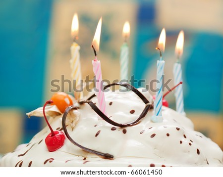 Birthday party celebration sweet cake food candle - stock photo