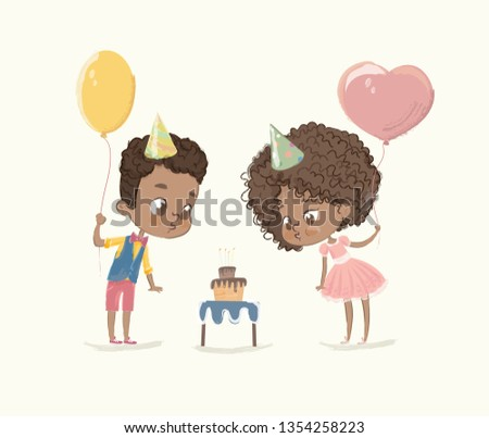 Birthday Party Characters. Cite African-American Boy Blowing Out Candle on Cake. African Americn Children Characters Blowing Fire on Cupcake. Friends Celebrate Flat Cartoon  Illustration.