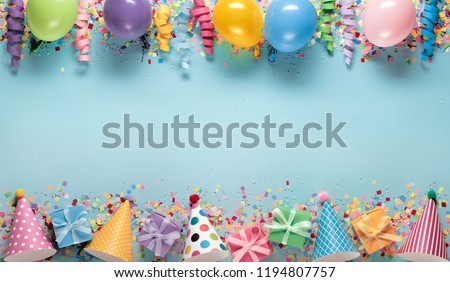 Birthday party decoration,balloon,streamers,hat and gift boxes #1194807757