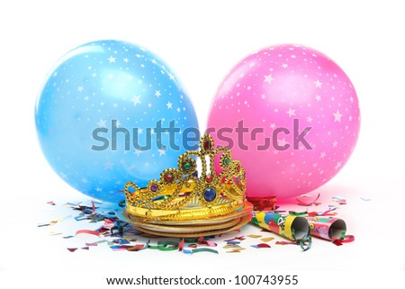Birthday party decorations on white background